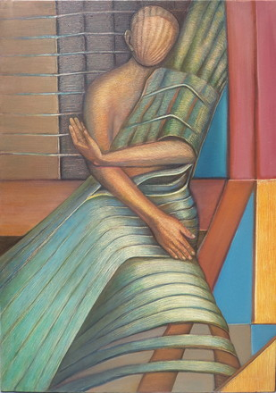 Poise by Niku Guleria, Expressionism Painting, Oil on Canvas, Brown color