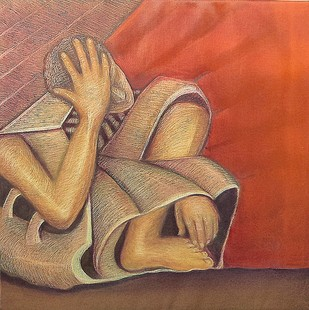 Melancholy by Niku Guleria, Expressionism Painting, Oil on Canvas, Brown color