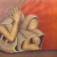 Niku guleria melancholy oil on canvas 24x24inches