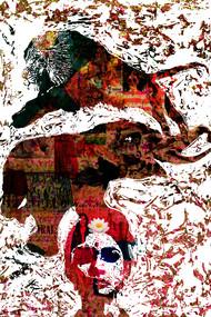 Nara-Gaja-Simha (Man-Elephant-Lion) by Sayak Mitra, Conceptual Digital Art, Digital Print on Paper, Brown color