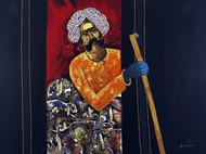 Shepherd by Raosaheb Gurav, Traditional Painting, Acrylic on Canvas, Blue color