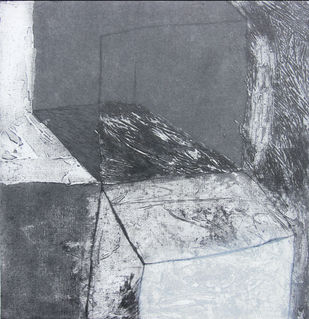 Complexity by Ruchi Shah, Geometrical, Minimalism Printmaking, Intaglio on Paper, Gray color