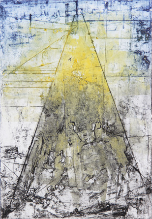 Converging by Ruchi Shah, Geometrical Printmaking, Monotype on Paper, Gray color