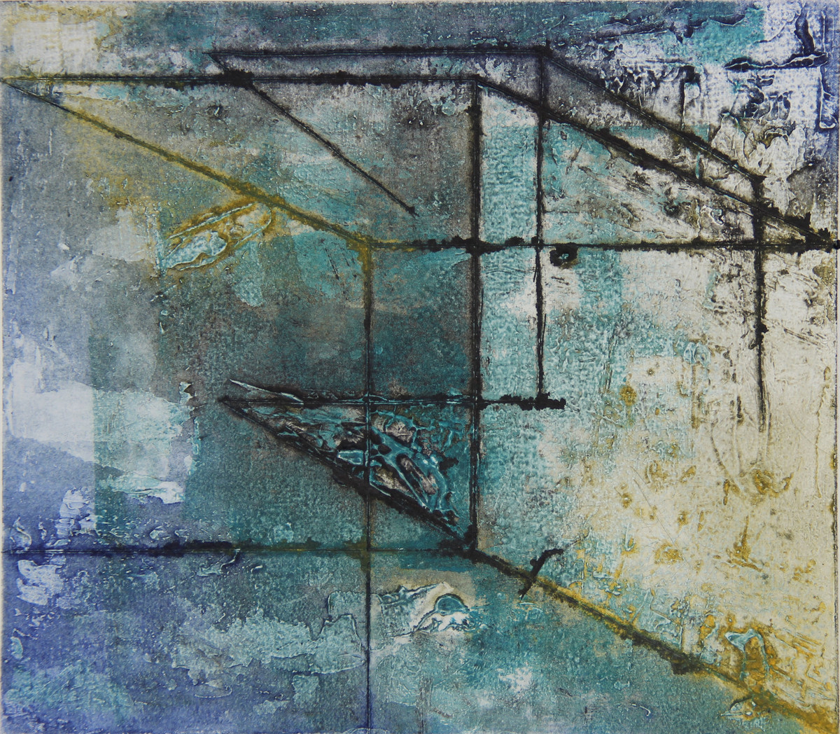 Perception by Ruchi Shah, Geometrical Printmaking, Monotype on Paper, Green color