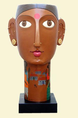 Untitled by Kandi Narsimlu, Traditional Sculpture | 3D, Fiber Glass, Beige color