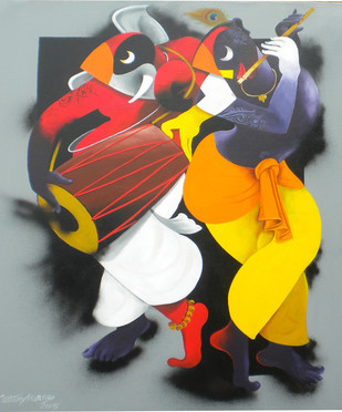 Music Maker by Uttam Manna, Decorative Painting, Acrylic on Canvas, Brown color