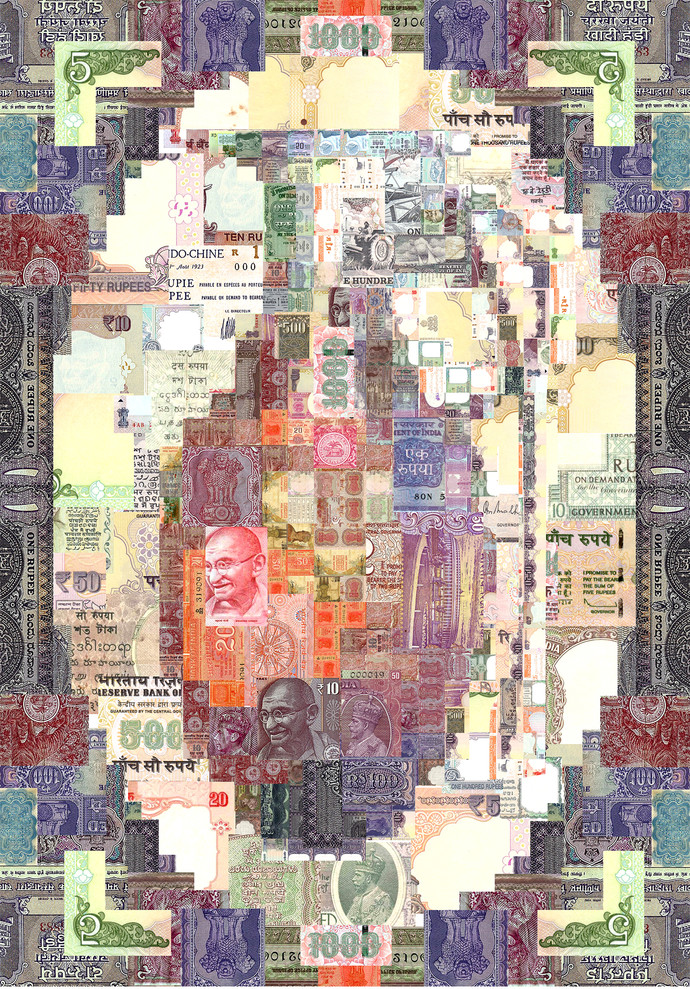 Security Threat 02 by Saptarshi Das, Conceptual Digital Art, Digital Print on Paper, Beige color
