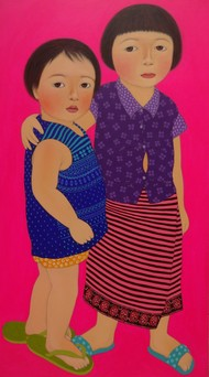My Little Brother with green Chappal by Meena Laishram, Decorative Painting, Acrylic on Canvas, Brown color
