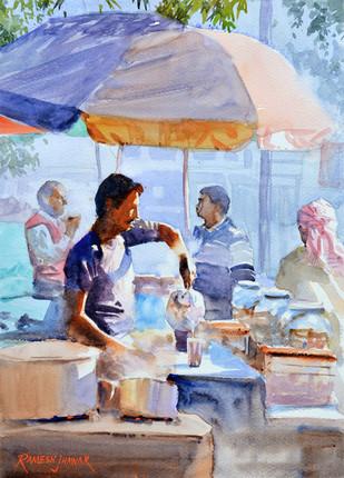 The Chaiwallah by Ramesh Jhawar, , , Cyan color