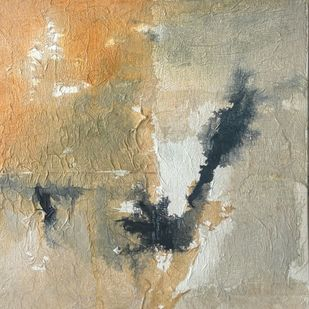 Untitled by Madhuri Kathe, Abstract Painting, Mixed Media on Canvas, Beige color