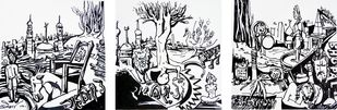 Lack City of Bhopal by Mahesh Pal Gobra, Illustration Drawing, Ink on Paper, Gray color