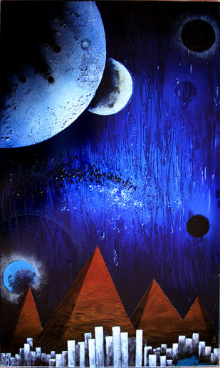 Cosmic Energy (KL - 5) by Lomror Kana, Surrealism Painting, Vitreous Enamels on Metal, Blue color