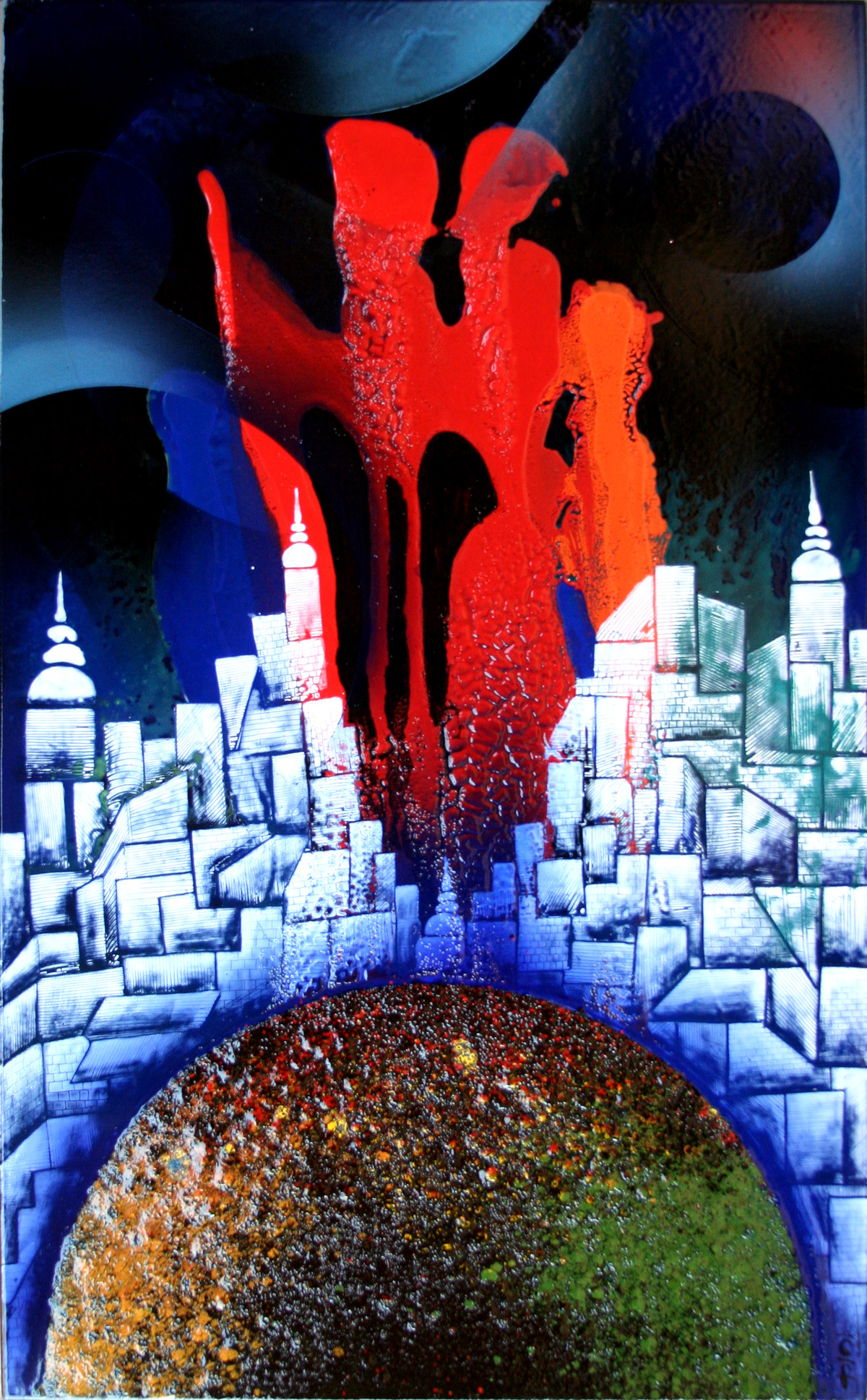 Gateway to Heaven KL1 by Lomror Kana, Surrealism Painting, Vitreous Enamels on Metal, Blue color