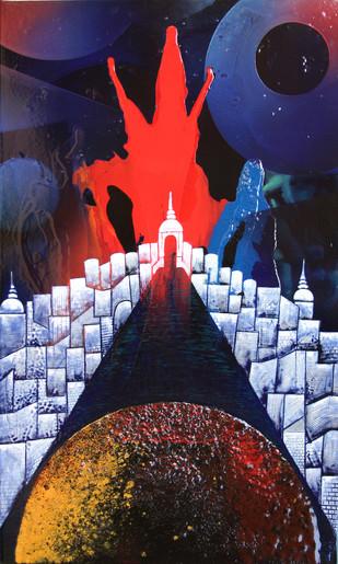 Gateway to Heaven III (KL - 2) by Lomror Kana, Surrealism Painting, Vitreous Enamels on Metal, Blue color
