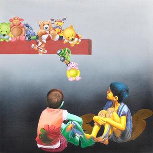 Sapno Ki Or II by Jitendra Saini, Pop Art Painting, Oil & Acrylic on Canvas, Gray color