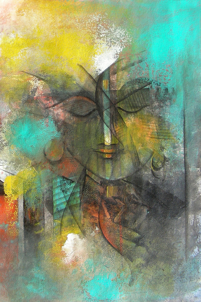Abstract Face by M Singh, , , Green color