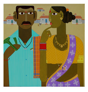 Couple -1 by Kandi Narsimlu, Traditional Painting, Acrylic on Canvas, Beige color