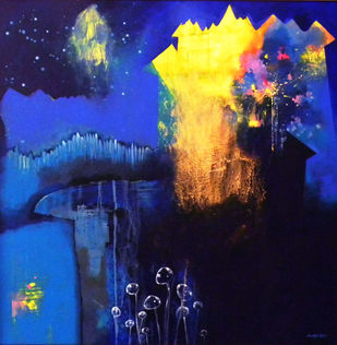 Untitled by Pradip Sengupta, Conceptual Painting, Acrylic on Canvas, Blue color
