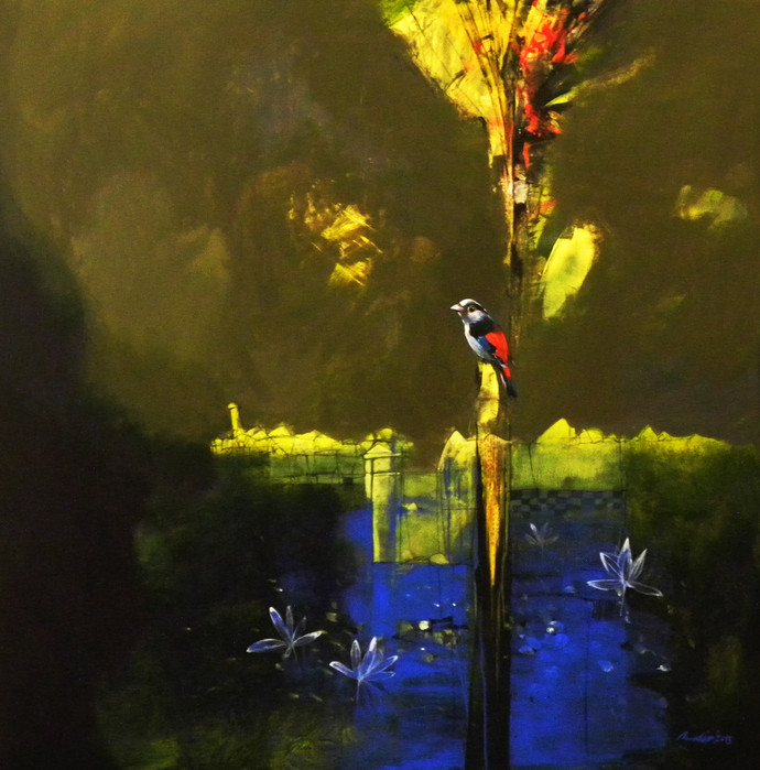 The Last Light of the Day by Pradip Sengupta, Decorative Painting, Acrylic on Canvas, Green color