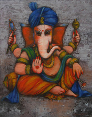 Ganesha by Anindya Mukherjee, Decorative Painting, Acrylic on Canvas, Brown color
