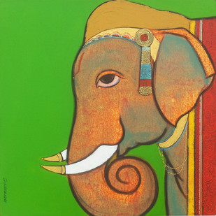 Remembrance of Lord Ganesha by Ashok Rathod, Decorative Painting, Acrylic on Canvas, Green color
