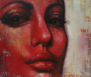 Expression Series by Anindya Mukherjee, Realism Painting, Acrylic on Canvas, Brown color