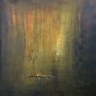 My Golden Time of Past by Poonam Rana, Abstract Painting, Acrylic on Canvas, Brown color
