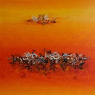 MAHABHARAT by Poonam Rana, Abstract Painting, Acrylic on Canvas, Orange color