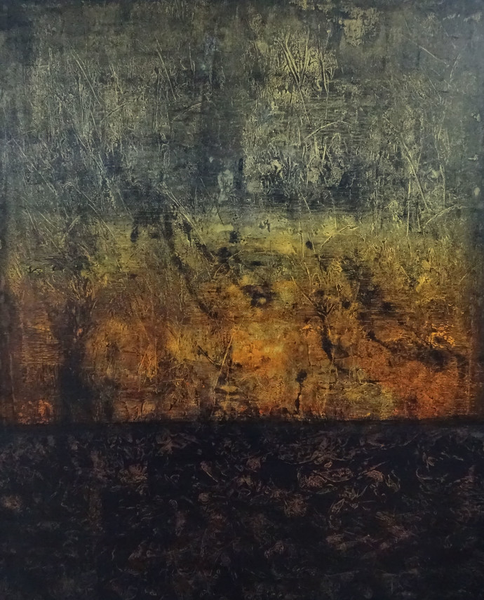 Untitled 04 by Poonam Rana, Abstract Painting, Acrylic on Canvas, Gray color
