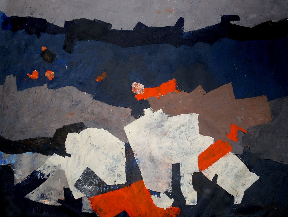 Untitled 01 by Poonam Rana, Abstract Painting, Acrylic on Canvas, Gray color