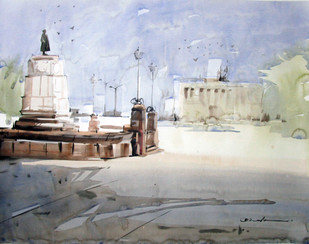 Kolkata 4 by A Kundu, Impressionism Painting, Watercolor on Paper, Gray color
