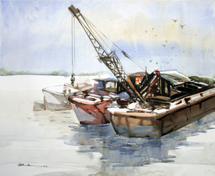 Reflection 2 by A Kundu, Impressionism Painting, Watercolor on Paper, Gray color