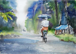 Rainy Day by Sunil Linus De, Impressionism Painting, Watercolor on Paper, Green color
