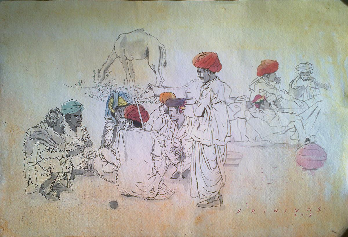 Pushkar Conference by Sreenivasa Ram Makineedi, Illustration Painting, Watercolor on Paper, Beige color