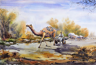 To Feild by Sunil Linus De, Impressionism Painting, Watercolor on Paper, Brown color