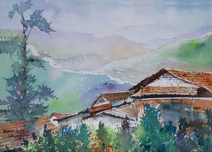 Valley by Mopasang Valath, Impressionism Painting, Watercolor on Paper, Green color