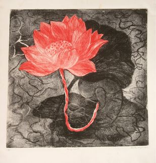 In My Womb by Kavita Nayar , Conceptual Printmaking, Etching on Paper, Brown color