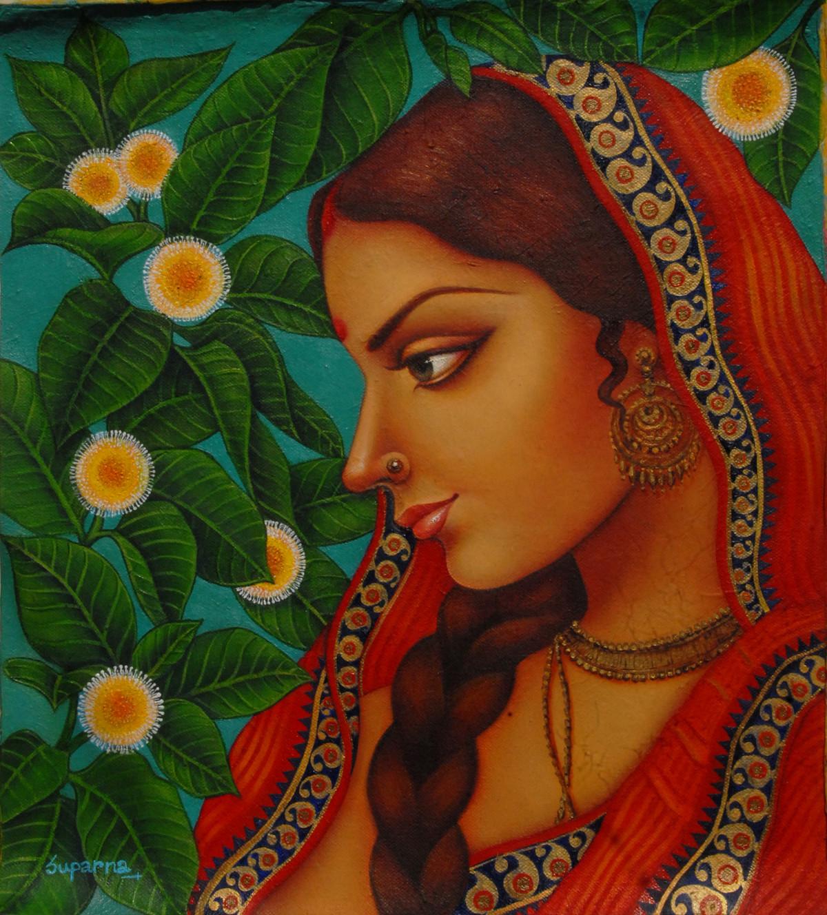 Kadambari by Suparna Dey, Realism Digital Art, Oil on Canvas, Brown color