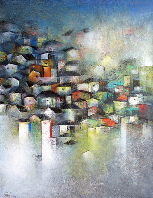 Village of your and my dream by M Singh, Impressionism Painting, Acrylic on Canvas, Gray color