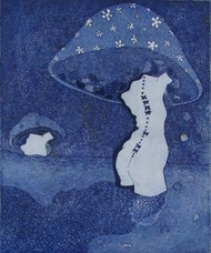 Untitled by Monica Ghule, Surrealism Printmaking, Etching on Paper, Blue color
