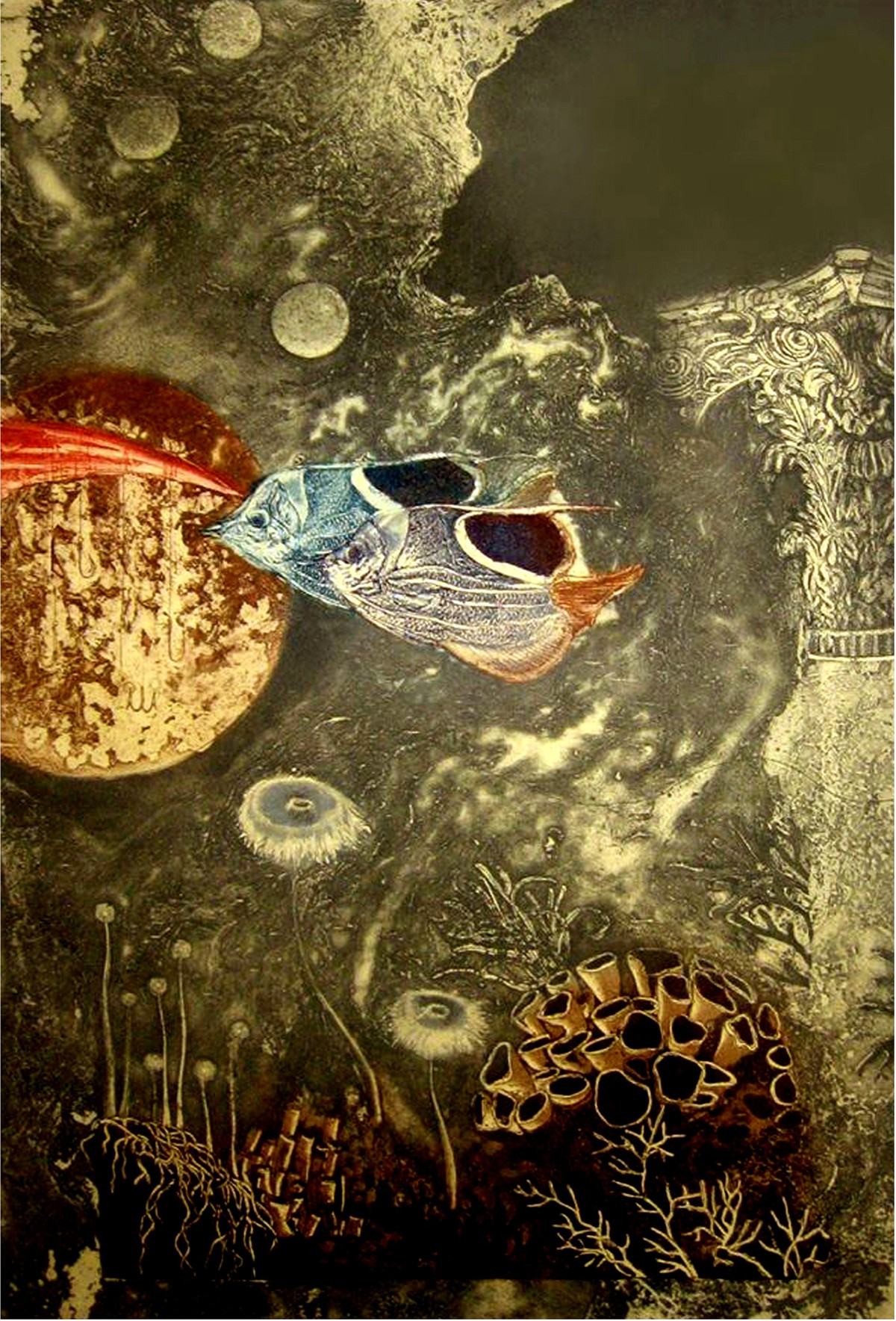 Aqua Life 2 by Jyotirmay Dalapati, Surrealism Printmaking, Etching on Paper, Brown color