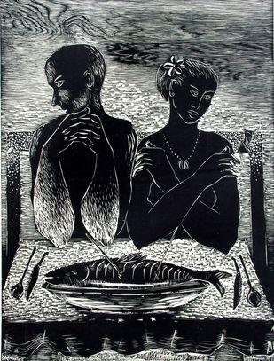 Dilemma by Mahesh Prajapati, Illustration Printmaking, Wood Cut on Paper, Gray color