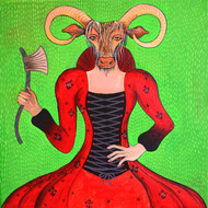 Victorian Cow by Pragati Sharma Mohanty, Decorative Painting, Acrylic on Canvas, Green color