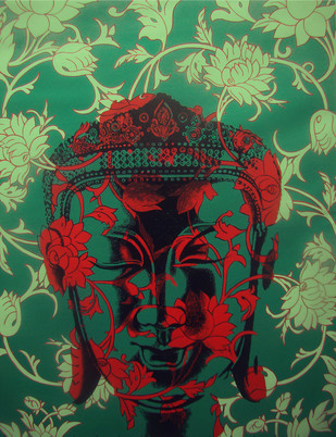 Buddha by Sujit Karmakar, Decorative Painting, Acrylic on Canvas, Green color