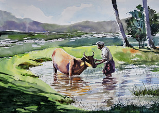 Cow and Man by Sunil Linus De, , , Green color