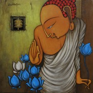Lord Buddha by H S BHATI, Decorative Painting, Acrylic on Canvas, Brown color