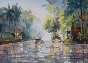 Village Beauty 1 by Mopasang Valath, Impressionism Painting, Watercolor on Paper, Gray color