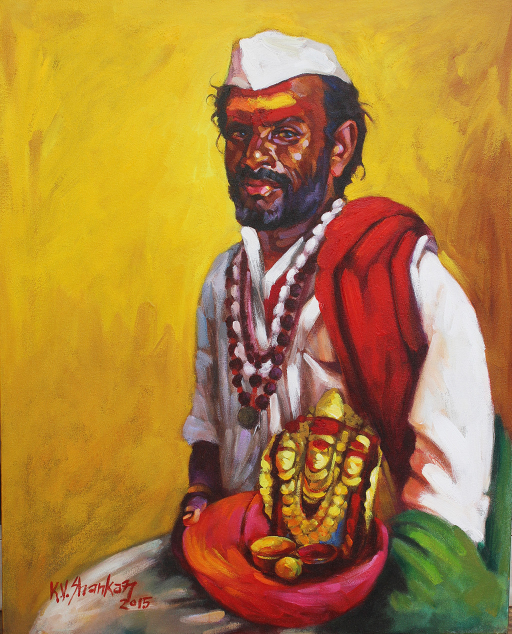 Jogappa by K V Shankar, Realism Painting, Acrylic on Canvas, Brown color