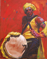 Drummer 5 by K V Shankar, Realism Painting, Acrylic on Canvas, Brown color
