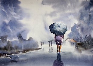 Rainy Day by Sunil Linus De, Impressionism Painting, Watercolor on Paper, Gray color